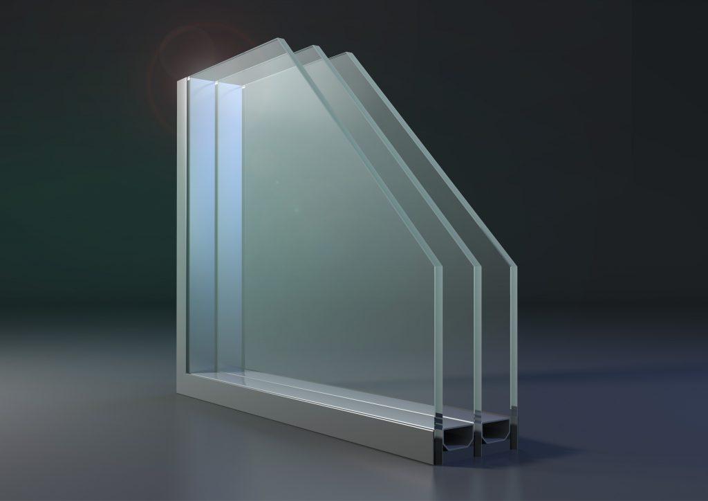 Treglasfönster i genomskärning